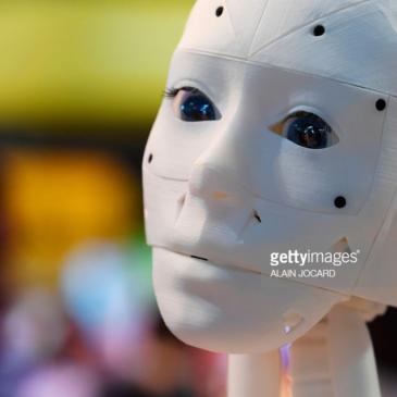 A 3-D-printed robot at the InMoov corner